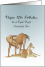 Horse and Pony, Happy 10th Birthday to Son card
