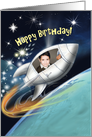 Customizable Insert Your Picture Spaceship Birthday Card