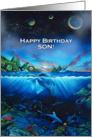 Waterworld Universe Happy Birthday, for Son card