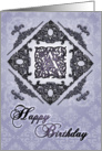 Ornate Damask and Faux Pewter A Monogram Birthday Card