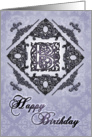 Ornate Damask and Faux Pewter B Monogram Birthday Card