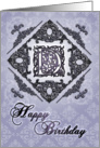 Ornate Damask and Faux Pewter D Monogram Birthday Card