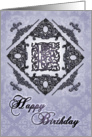 Ornate Damask and Faux Pewter E Monogram Birthday Card