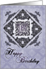 Ornate Damask and Faux Pewter F Monogram Birthday Card