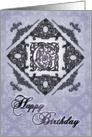 Ornate Damask and Faux Pewter G Monogram Birthday Card