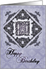 Ornate Damask and Faux Pewter H Monogram Birthday Card