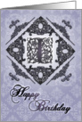 Ornate Damask and Faux Pewter I Monogram Birthday Card