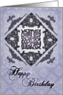 Ornate Damask and Faux Pewter J Monogram Birthday Card