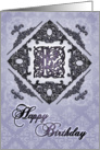Ornate Damask and Faux Pewter L Monogram Birthday Card