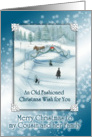 Old Fashioned Snowy White Christmas Wish for Cousin and Family Card