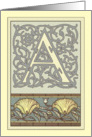 Art Nouveau Ornate A Monogram Blank Note Card