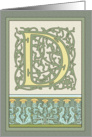 Aqua-greenThistles Art Nouveau Monogram D Blank Note Card