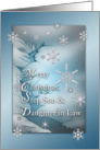 Merry Christmas Snowflakes on Blue for Step Son & Daughter in Law Card