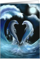 Wedding Invitation, Be Our Host Couple, with Dolphins in the Moonlight card