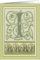 White Irises Jade Green Art Nouveau Monogram I Birthday Card