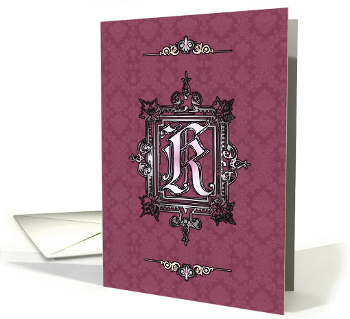 Purple Vintage Lace and Sterling K Monogram Blank Note card (1157580)