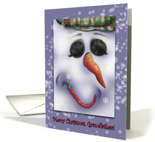 A Jolly Snowman wishes a Merry Christmas for Grandfather card