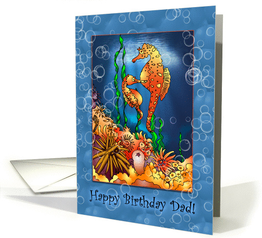 Two Seahorses with Bubbles Birthday for Dad from Son card (1180354)