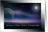 Greetings to You on Winter Solstice, Light Shines Card