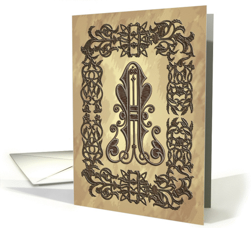 Celtic Wood Monogram A Initial on Parchment Blank Note card (1198632)