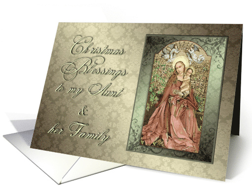 Madonna and Child Christmas Blessings for Aunt and Family card