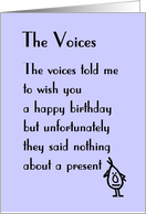 The Voices - a funny birthday poem card