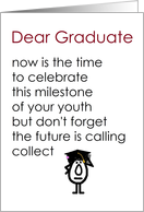 Dear Graduate - a funny graduation poem (red title, girl graduate) card