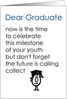 Dear Graduate - a funny graduation poem (blue title, girl graduate) card