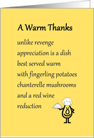 A Warm Thanks - a funny thank you poem card