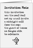 Invitation Noir - a funny birthday party invitation poem card