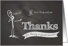 Thanks Teacher chalkboard stickman custom name card