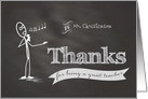 Thanks Music Teacher chalkboard stickman custom name card