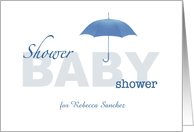 Baby Boy Shower Invitation - White & Blue - Custom Name card