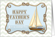 Happy Father's Day - chevron sailboat and knotted rope - custom name card