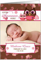 Baby Announcement - Look who's here Owl card