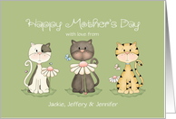 Mother's Day Three Cats From All of Us Custom Names card