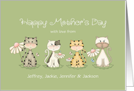 Mother's Day Four Cats From All of Us Custom Names card