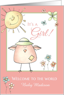 Welcome 1st Daughter - Custom Name Baby Congratulations card