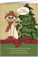 Customizable Vet's Name Meowy Christmas Kitty w/ bow card