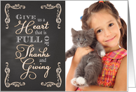 Chalkboard Thanksgiving - Give Us a Heart custom photo card