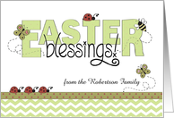 Easter Blessings, green chevron & ribbon - from custom name card