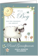 It's a Boy - Proud Grandparents Announcement - Little Lamb card