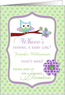 Baby Shower - Owl, Whooo's having a girl custom name card