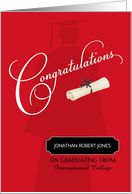 College Graduation Congratulations Custom Name & School card