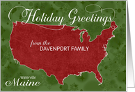 Holiday Greetings from Maine Custom Name & City card