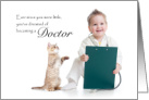 Doctor Congratulations on New Job - child playing doctor with cat card