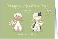 Mother's Day Two Cats from all of us - custom names card