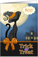 BOO - Trick or Treat Black Cat, Haunted House, Full Moon card