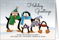 Custom Name Holiday Greetings colorful penguin family card