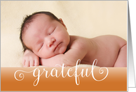 New Baby Grateful Fall-Thanksgiving birth announcement photo card
